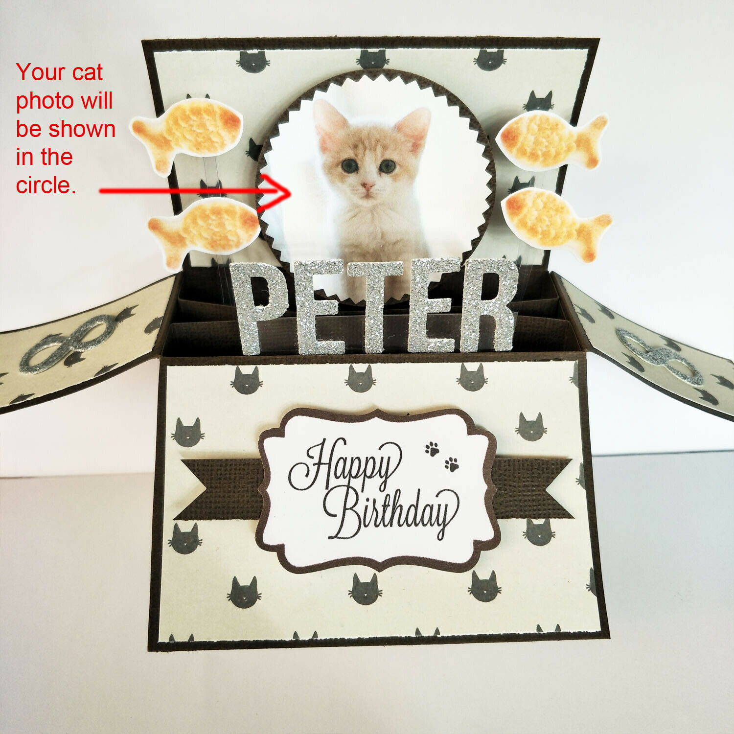 Handmade Name & Age Personalized birthday card pet birthday card cat kitten card - Your own cat photo