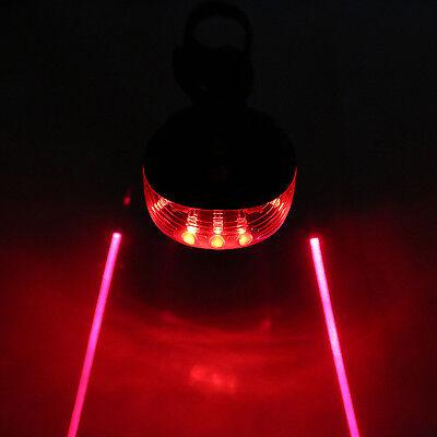 5 LED+2 Laser Cycling Bicycle Bike Rear Tail Safety Warning Flashing Lamp Light