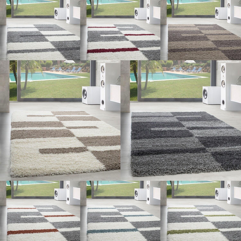 Shaggy Hochflor Langflor Teppich Wohnzimmer Carpet Farben Formen Karo Kariert