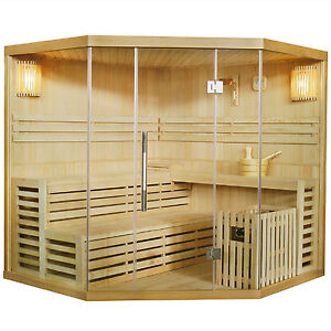 Saunakabine Espoo200 Massivholz Sauna Ecksauna Traditionell Harvia Saunaofen Neu