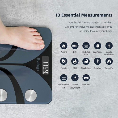 Smart Digital Weight Scale 13 Functions Body Fat BMI Fitness Monitor With App
