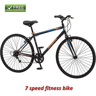 Mongoose Fitness Bike Men 700C Black Hybrid Commuter Sport City Bicycle New!](Hybrid Commuter Bike)