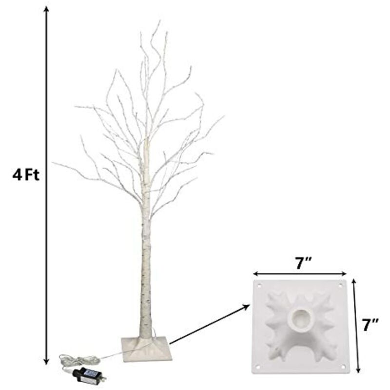 White Artificial Birch Tree with 200 White LED Lights, 4FT * (MISSING BASE) *