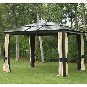 12u0027x10u0027 Outdoor Hardtop Roof Gazebo Aluminum Metal Patio Canopy With Mesh  Walls