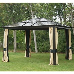 12'x10' Outdoor Hardtop Roof Gazebo Aluminum Metal Patio ...