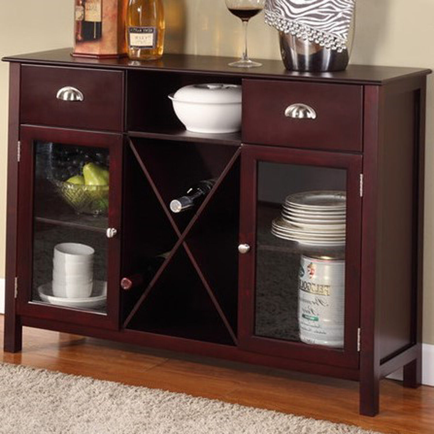 Buffet Cabinet Hutch Dining Kitchen Server Furniture Wine Rack Sideboard Tabl