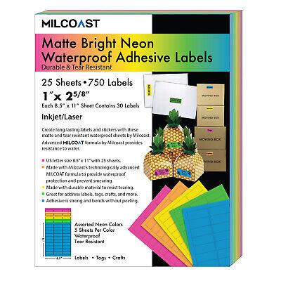 Milcoast Neon Matte Waterproof Address Labels 1 X 2-58 5 Colors 25 Sheets