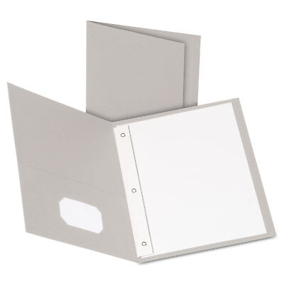 Oxford Twin-pocket Folders With 3 Fasteners Letter 12 Capacity Gray 25box
