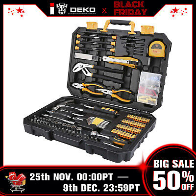 Deko Pro 196 Pcs General Household Hand Tool Kit With Rip Claw Hammer Tool Set