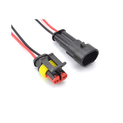 Amp 1x2p 2 Pin Waterproof 16-20awg Rugged Automotive Connector Ip67 Assembled