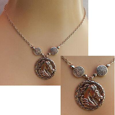 Horse Necklace Silver Pendant Jewelry Handmade Chain Head Women Fashion Animal