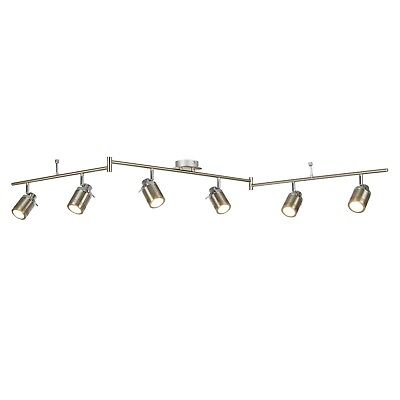 Searchlight Samson LED 6 Light Satin Silver Split Bar Bathroom Ceiling - Light Satin Silver Spot Light