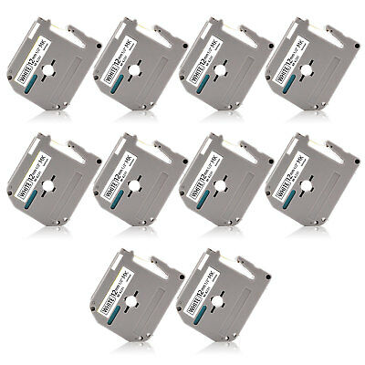 10pk Mk-231 12mm P-touch Label Tape Compatible For Brother Pt65 Pt85 Pt90 Pt100