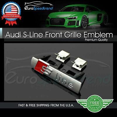 S LINE Grill Emblem for Audi A3 A4 A5 A6 A7 Q3 Q5 Q7 Front Hood Grille Badge