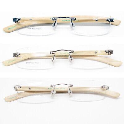 Bamboo Frame Light Weight Reading Glasses Men Women Rimless Spring (Bamboo Reading Glasses)