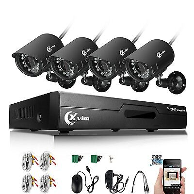 XVIM 4CH Home Security Camera System 1080N HDMI HD 4*720P Outdoor CCTV Video DVR