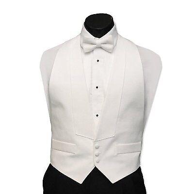 Men's Xxl White Satin Tuxedo Tux Vest Bow Low Cut Big Tal...