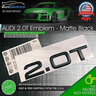 2.0T Emblem Matte Black 3D Badge Trunk for Audi Nameplate OEM Compact S Line A4