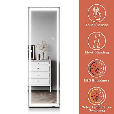 Large Dressing Full Length Mirror with LED Light Floor Standing or Wall Mounted