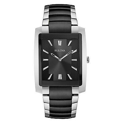 Bulova Men's 98A117 Japanese Quartz Stainless Steel Black and Silver Dress Watch
