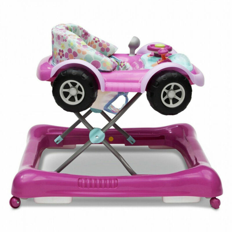 Baby Drive Walker Realistic Car Detail Pink Toddler Activity Walk Exercise Aid