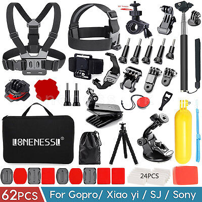 62-In-1 Action Camera Accessories Kit For GoPro Hero Video Cam Mount Tripod Set