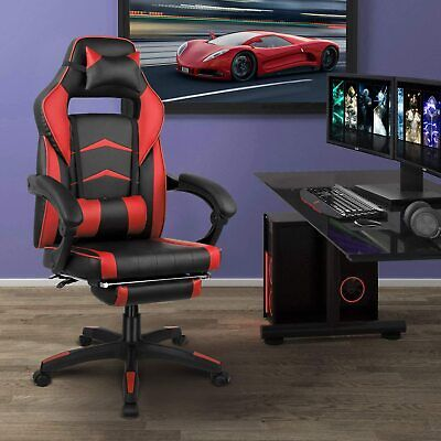 Office Chair Gaming Chair Recliner Racing High-back Swivel Task Desk Chair Red