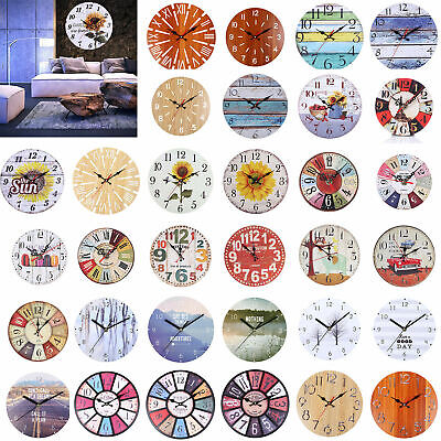 Vintage Rustic Wooden Wall Clock Shabby Retro Home Kitchen Room Decor UK