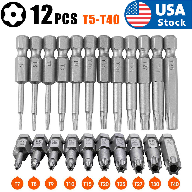 12 Pcs 50mm 1/4 Inch Hex Shank T5-T40 Torx Head Screw Driver Bits Set Kit Tools Hand Tools