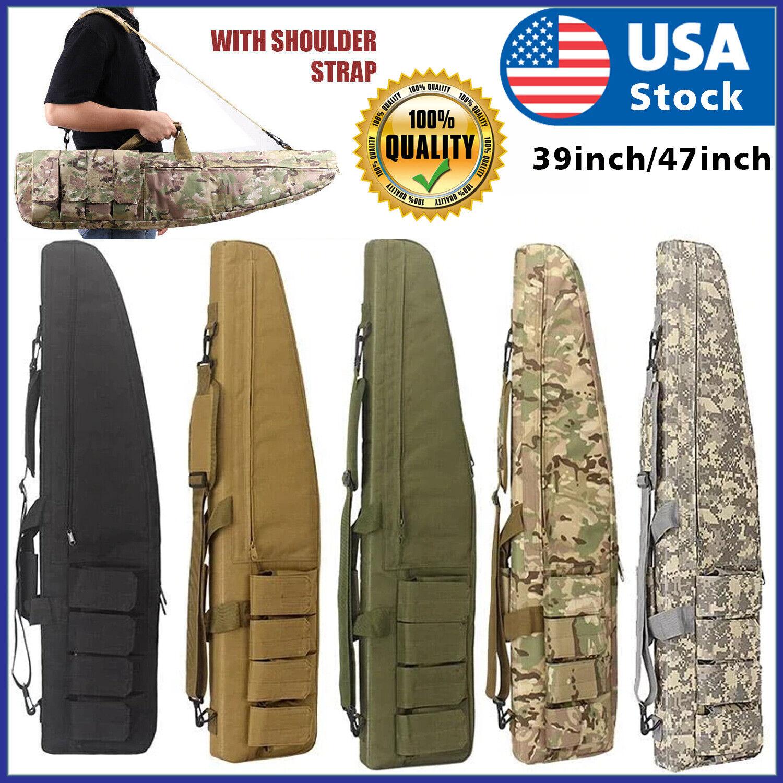 "39″ 47"" Long 600D Soft Padded Tactical Gun Case Bag Assault Rifle Pistol Storage Cases"