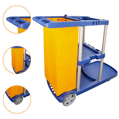 42.5 Commercial Janitorial Cleaning Cart 3 Shelf Housekeeping Ultility Cart Bag
