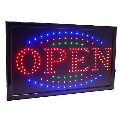 Large 3 Color High Visible Led Light Business Open Sign Chain Switch 21.5x13