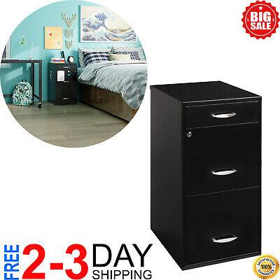 Filing Cabinet 18w 3-drawer Organizer File Black Free Shipping