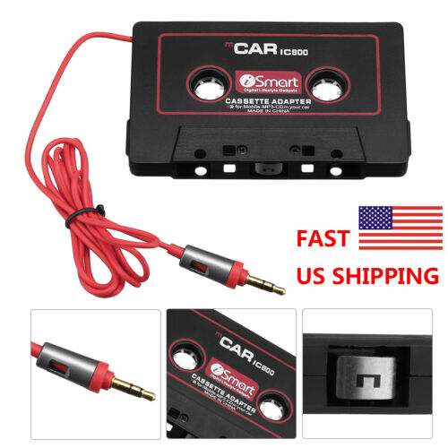 Audio Cassette to Aux Adapter Converter Cable Cord 3.5 for iPhone Cellphone MP3