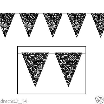 Halloween Web Banners (Halloween Haunted House Party Decoration SPIDER WEB Print Pennant FLAG)