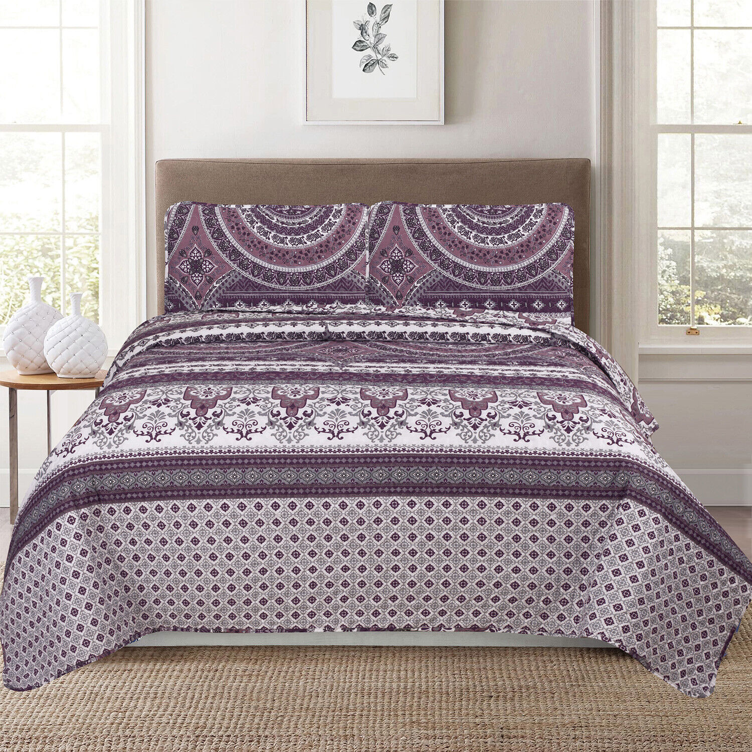 Full/Queen or King Damask Medallion 3-Piece Quilt Bedding Set, Purple and White Bedding