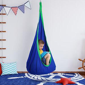 Swing Seat Hammock Nook Play Kids Nest Children Rope Blue Indoor Outdoor