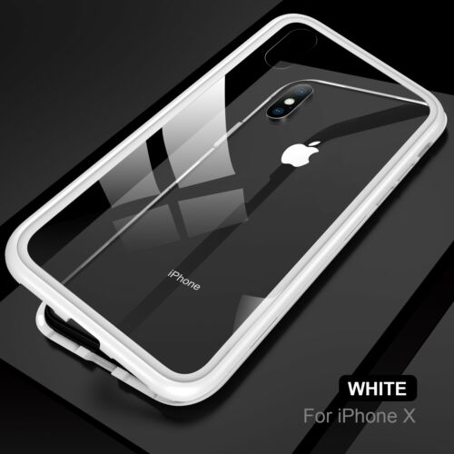 For iPhone XS X 8 7 6 Plus 360° Magnetic Adsorption Tempered Glass PC Case Cover