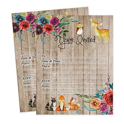 Woodland Invitations for Baby Shower Bridal Shower Deer Fox Boho Birthday Qty - Woodland Baby Shower Invitations