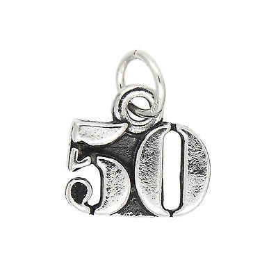 Sterling Silver Small Number 50 Years Number 50 Charm Pendant