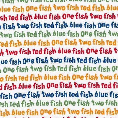Fabric Dr Seuss One Fish Two Fish Celebration Primary on Cotton by the 1/4 yard - Dr Seuss Crafts