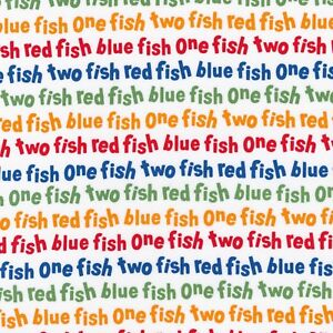 697e8f7a Fabric Dr Seuss One Fish Two Fish Celebration Primary on Cotton by the 1/4