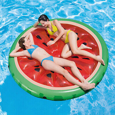 Inflatable Watermelon Slice Island Swimming Pool Lilo Water Air Lounger Float