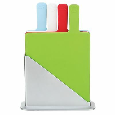 5PC INDEX CUTTING CHOPPING BOARD SET WITH HOLDER KITCHEN CHOPPING CUTTING BOARDS