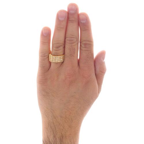 10K Yellow Gold Mens Round Diamond Wedding Band 9mm Miracle Set Ring 0.76 CT. 4
