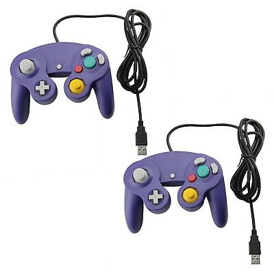 Purple Bundle Gamecube Style USB Wired Controller for PC Mac Classic Nintendo for sale  Canada