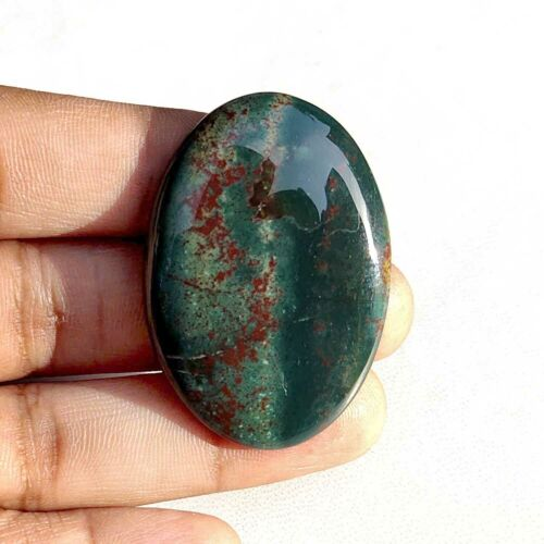 100% Natural Green Red Bloodstone Gemstone 67 Cts Oval Shape Polished Cabochon