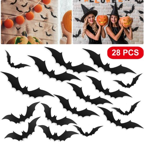 Home Decoration - 28Pcs Set 3D Halloween Decorations Bats DIY Scary Wall Decal Stickers Decoration