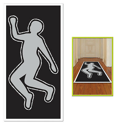 DEAD Body Silhouette police crime SCENE FLOOR WALL DECORATION Halloween - Crime Scene Halloween