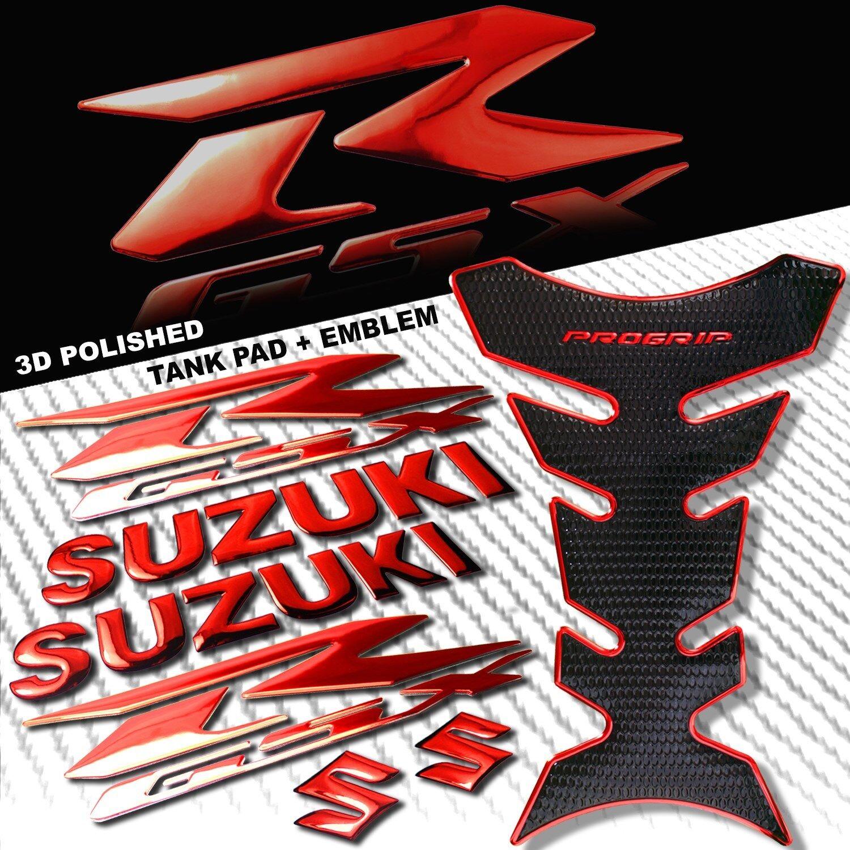 """4PCs Chromed Red Fuel Tank Pad+5.75/"""" Black 3D Suzuki Logo+Letter Emblem Sticker"""